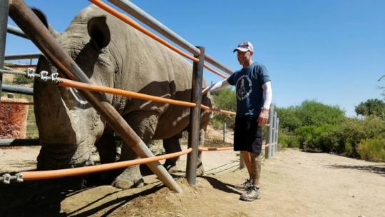 Jeff and a Big White Rhino