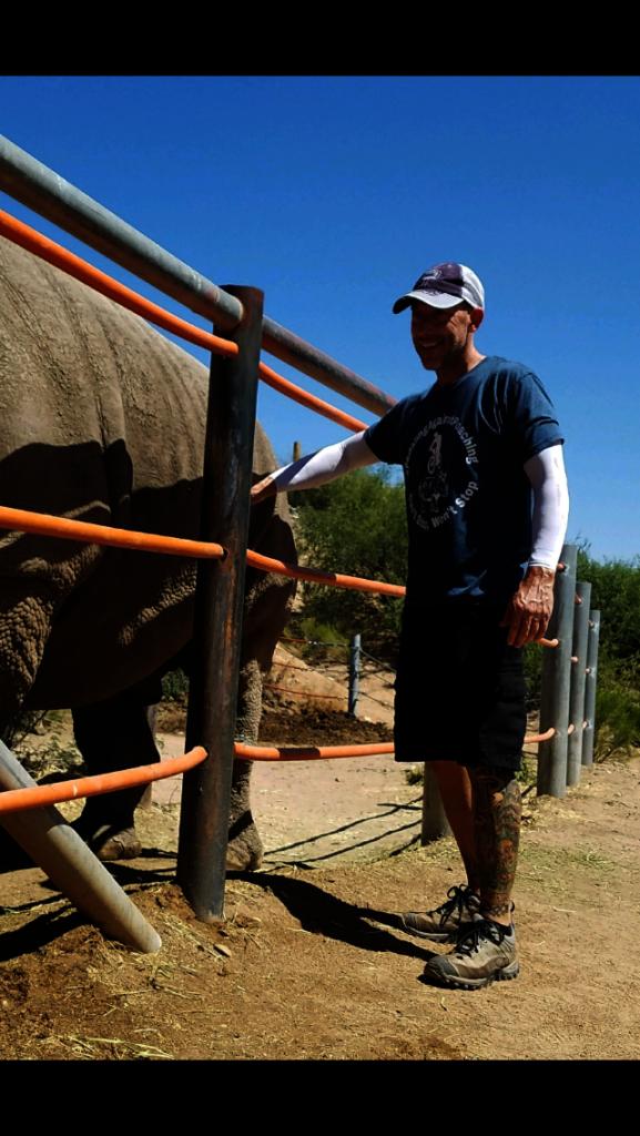 Jeff Harrison getting rhino love