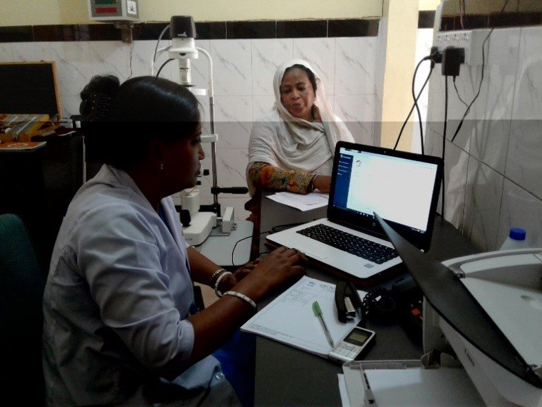 Kalpana with a patient