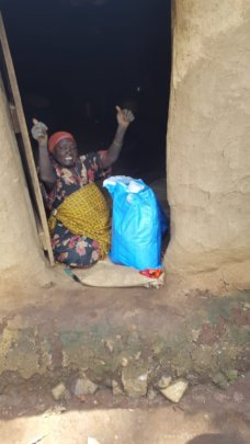 67 year old woman receiving relief.