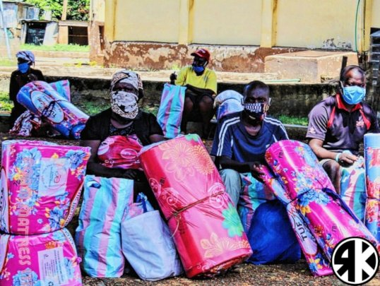 Some recipients of the Flood Relief Packs