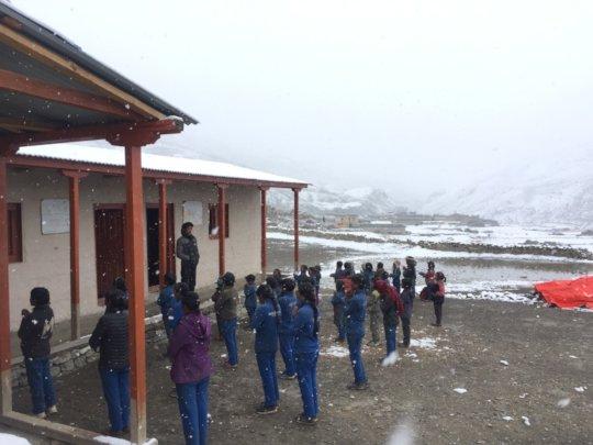 Assembling outside new classroms