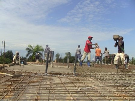 Laying concrete slab for maternity ward.