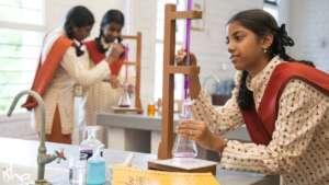 Isha Vidhya students at Science Lab