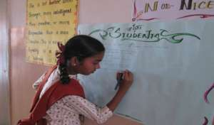 Girl student in gender sensitization activity
