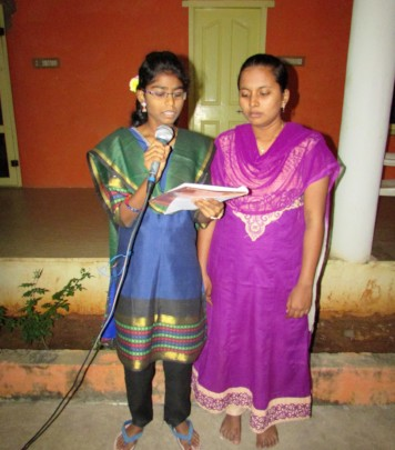 Girls from the home in a program