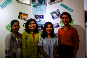Simran and YWPLI Fellows at their art installation