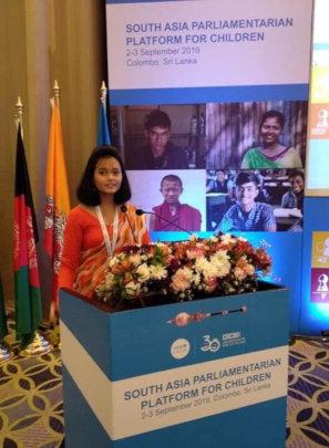 Prakriti representing UNICEF in Sri Lanka