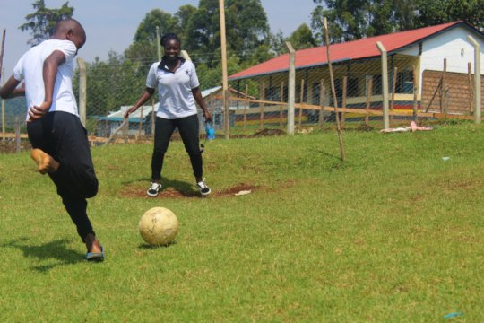 Participants during football competition