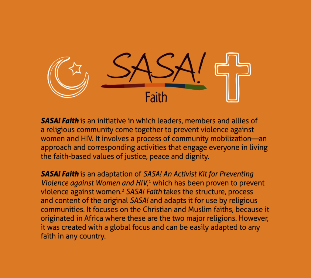 A page from the SASA! Faith guide to prevent VAWG.