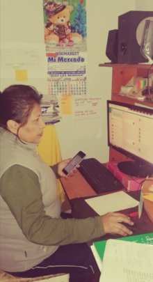 Teacher offering on-line lessons to her students