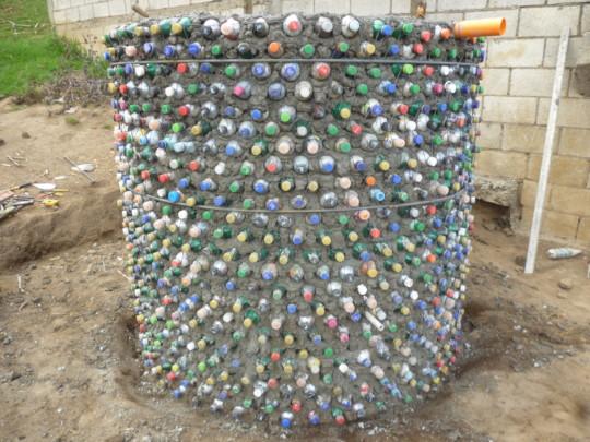 Cistern built with eco-bricks