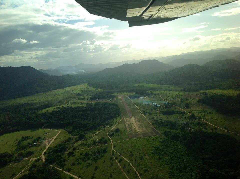 Flying over remote Guyana airstrip
