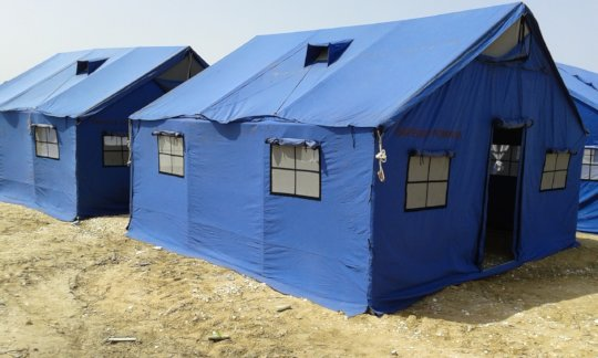 temporary tents where are displaced the victims