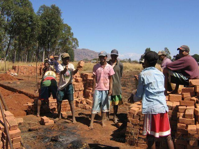 Building their school in Fiarenana
