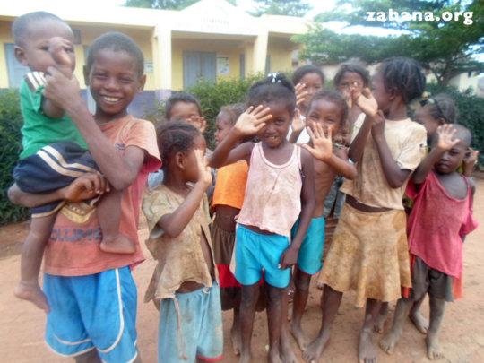 Children infront of the health center