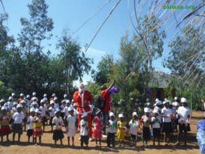 Santa sighted at schools in Madagascar