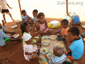Children eating after the clebration