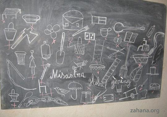 close-up blackboard