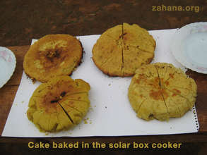 Cake baked in the school's solar box cooker