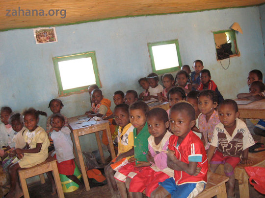 Inside the classroom in Zahana