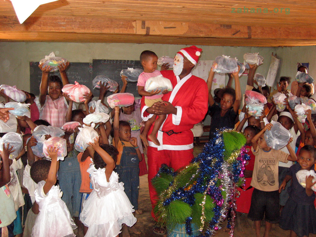 Santa bearing gifts for the children
