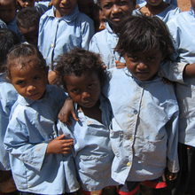 The new school uniforms made in the village