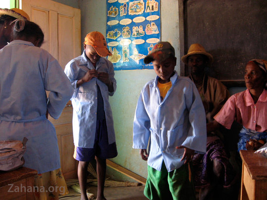 Trying on the new secondary school uniforms