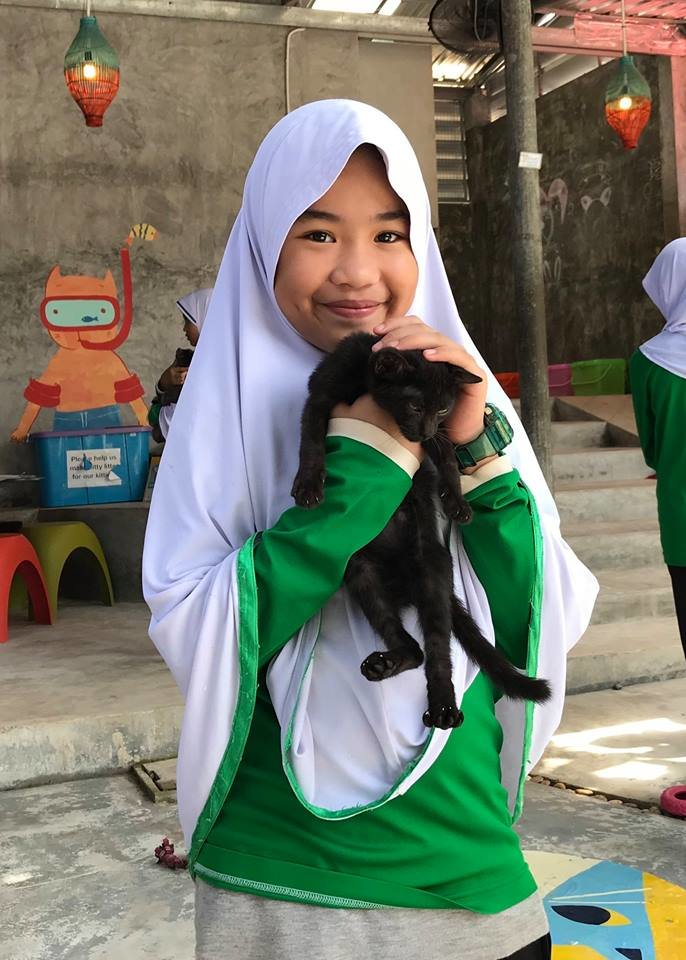Student interacting with a cat