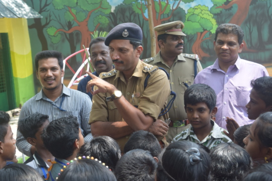 A.C.P ( J.K Dinil) interacting with the children