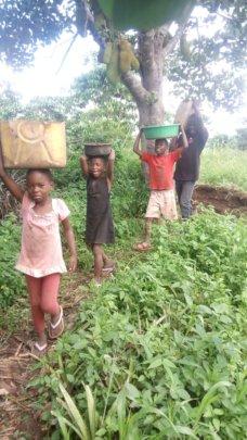 My children gladly helping on farm
