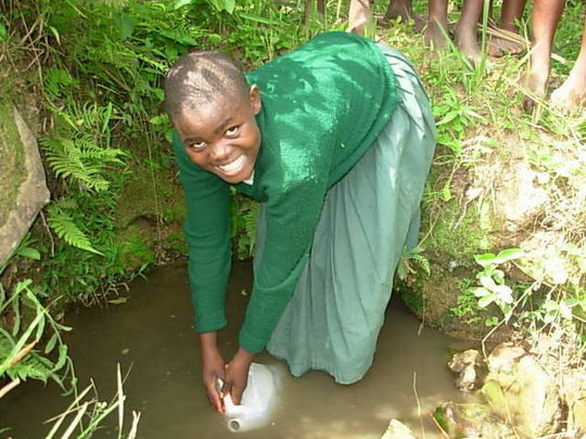 A student collects her day's water