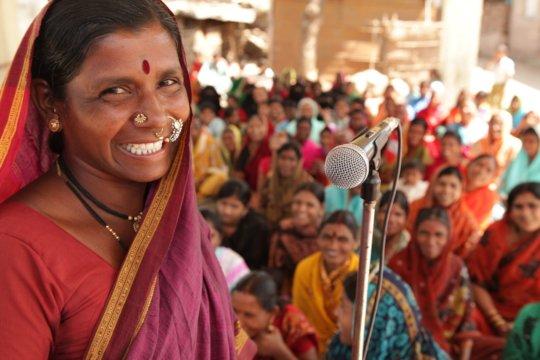 Dwarkabai addresses women in her village