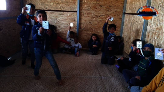 Children at the new library in Moria#2