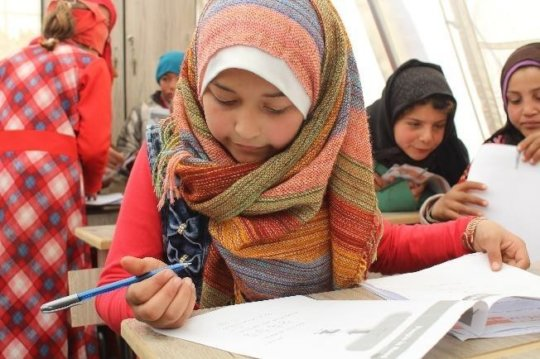 10 year old Amira taking a placement test with SLP