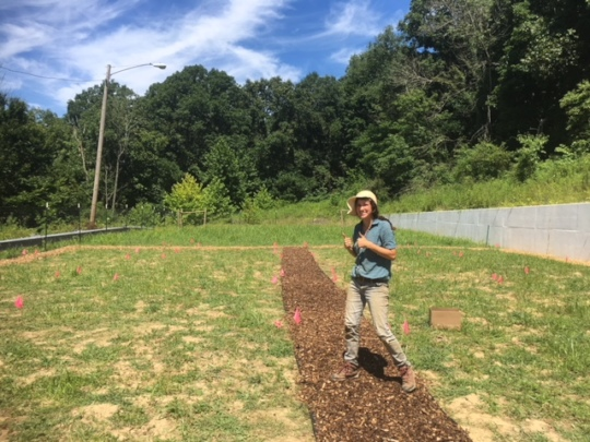 Javi poses after laying the first garden path