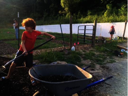 Mulching paths in the Community Garden