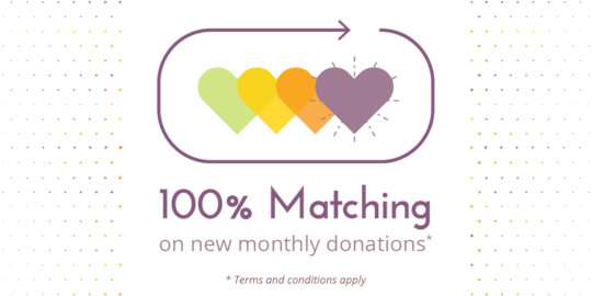 100% match on all new monthly donations up to $200