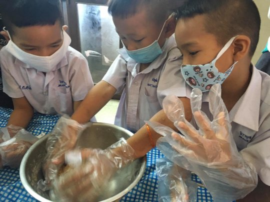 Cooking at afterschool Coconut Club