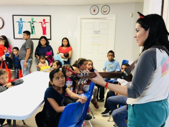 A musical moment at the Respite Center in McAllen