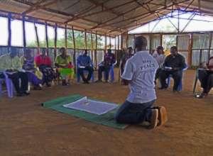 Peter leading workshop at Kakuma Friends Church