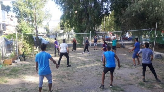Volleyball in the HUB garden