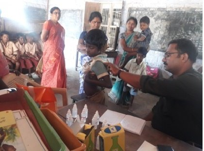 Homeo treatment to disabled children in a school