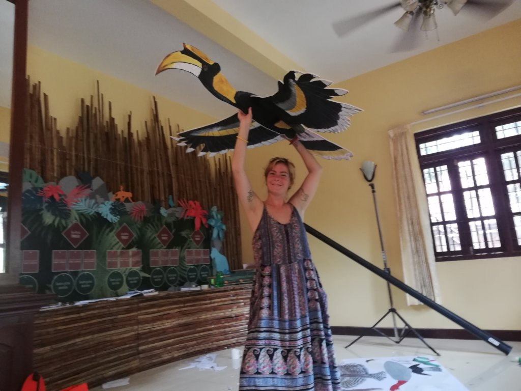 The Great Hornbill ready to display