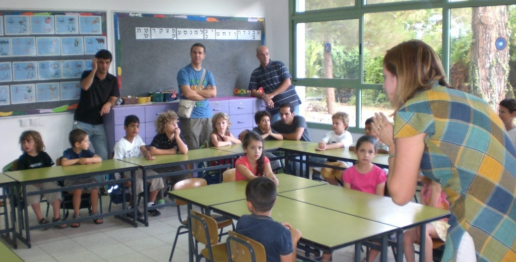 First day at school in the classroom