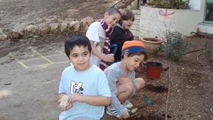 Planting season flowers in the school yard