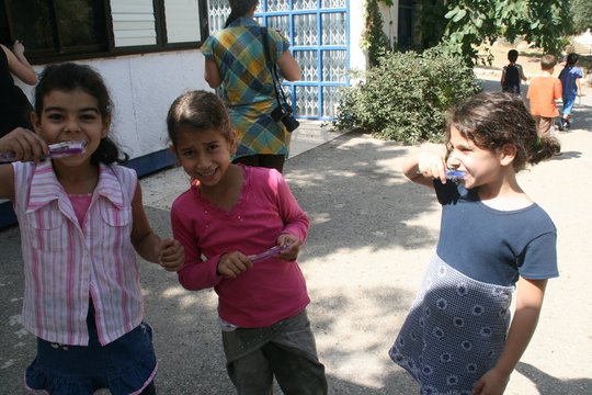 Children received toothbrushes