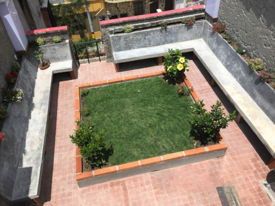 Rooftop tiling finished and grass/plants installed