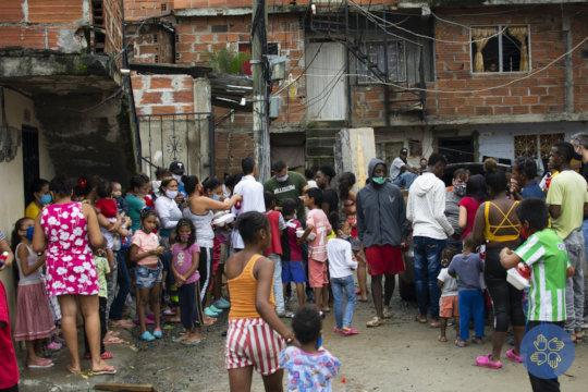 Families gathered for food distribution