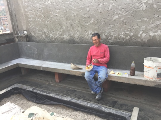 Humberto and the new rooftop benches